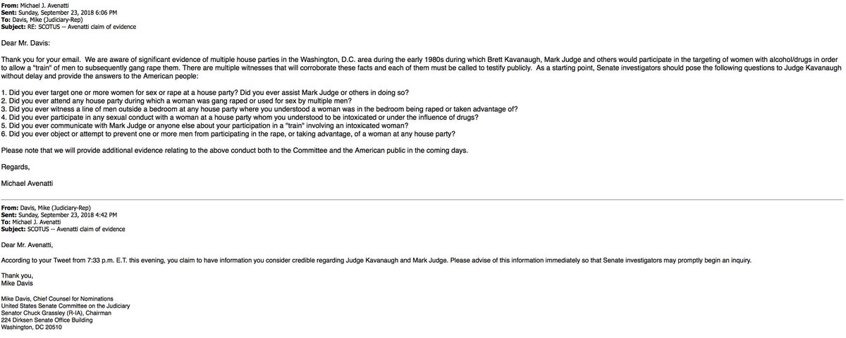 #FLASH - Email exchange from minutes ago between Michael Avenatti and Mike Davis, Chief Counsel for Nominations for U.S. Senate Committee on the Judiciary.