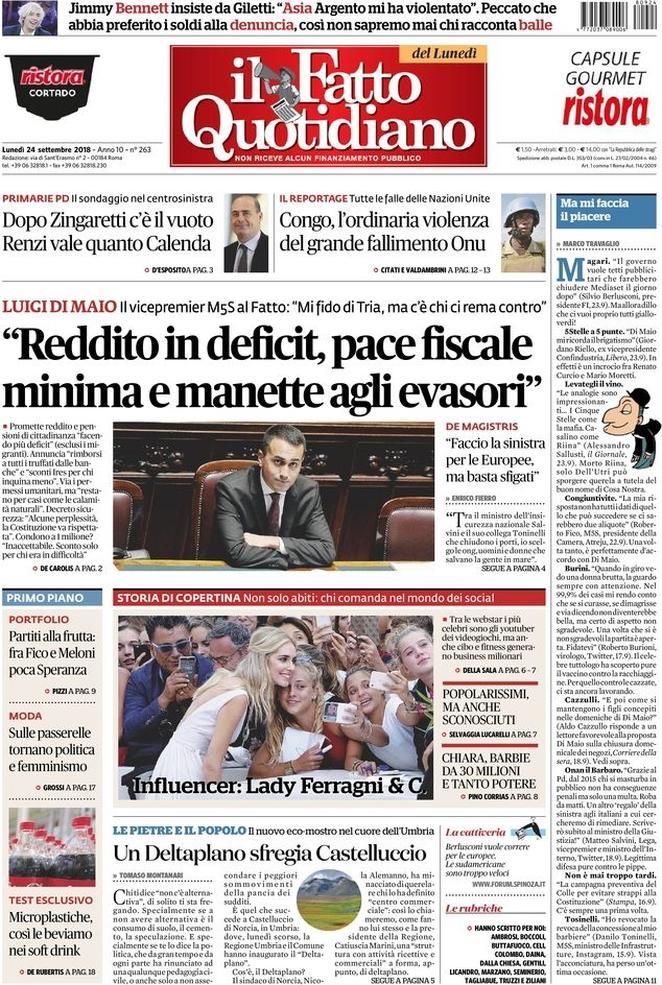 #buongiorno da #blogsicilia con la rassegna stampa delle prime pagine dei #giornali nazionali e i titoli di oggi #24settembre#news #italy #cronaca #politica #economia #cultura #salute #sport #oltrelostretto #sicilia http://wwwblogsicilia.it  - Ukustom