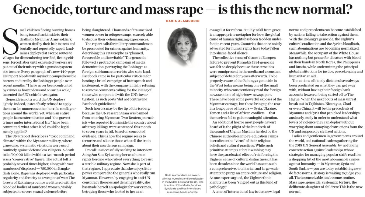 OP-ED: World leaders gathering for the 2018 #UNGeneralAssembly must take concrete action against the #Rohingya genocide, the #Uighurs' cultural eradication and the #Syrian bloodbath, otherwise such abominations become normalized, writes Baria Alamuddin https://t.co/nS1AS19Kzr