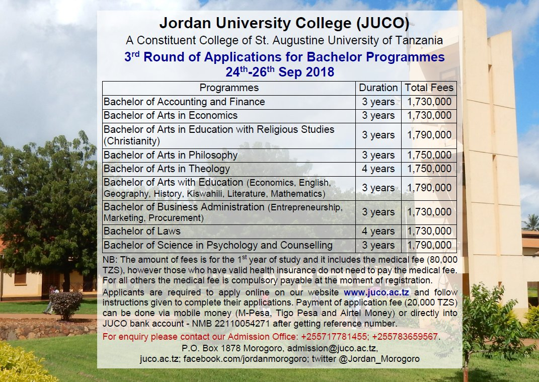 3rd round application for bachelor programmes on 24th-26th Sep 2018! For enquiry please contact our admission office +255717781455; +255783659567, admission@juco.ac.tz  #JUCO #Morogoro #Tanzania #education #GainWithXtianDela #TrapaDrive #1DDrive #MGWV #500pxrtg<br>http://pic.twitter.com/uCAUzk3ALf