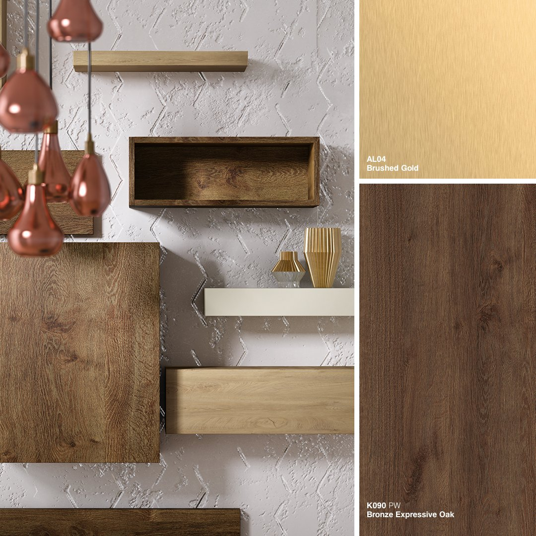Introducing our #BronzeExpressiveOak - a warm and expressive wood decor for a modern statement that's truly ageless in its appeal. #Kronospan #Kronodesign #Trends1819 #Oak #BrushedGold #Design #DesignInspiration #FurnitureDesign #WoodBasedPanels #MFPB #Melamine #Кроношпан https://t.co/2K4WWvxboH