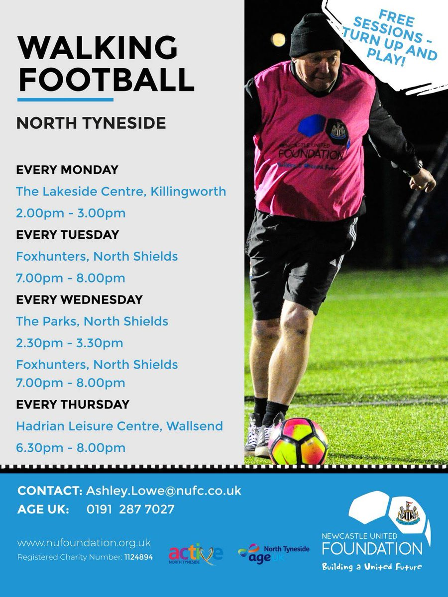 #walkingfootball #Monday 2 - 3 with @NU_Foundation for more details contact 01912977027<br>http://pic.twitter.com/hiaMvQ0iYI