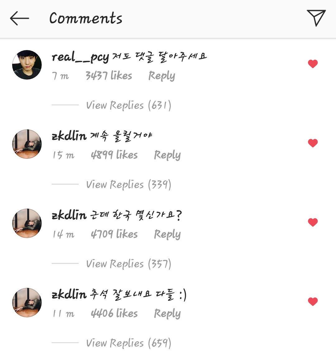 180924 Chanyeol ha commentato i post di Kai su IG.Jongin: Continuerò a caricareMa che ore sono in Corea?Tutti, passate un buon Chuseok :)Chanyeol: Anch\