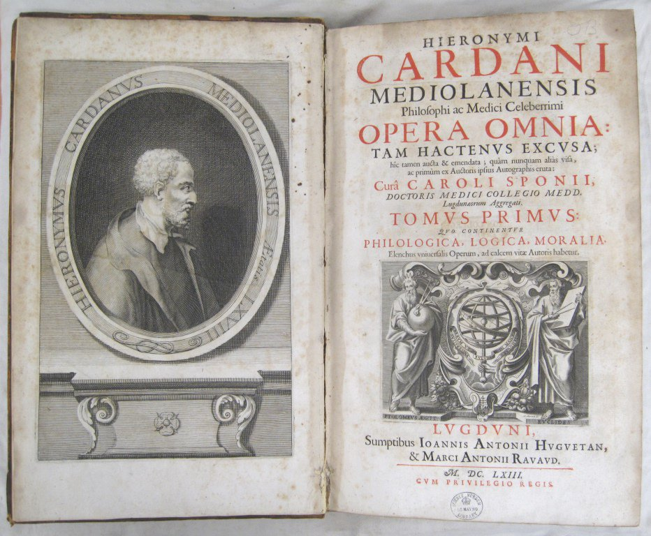 Happy Birthday Gerolamo Cardano! 16th C polymath who was a pioneering mathematician in algebra and probability theory, invented the combination lock and was the first to give a clinical description of typhus fever. A busy man! Pic of his work from our Library collections.