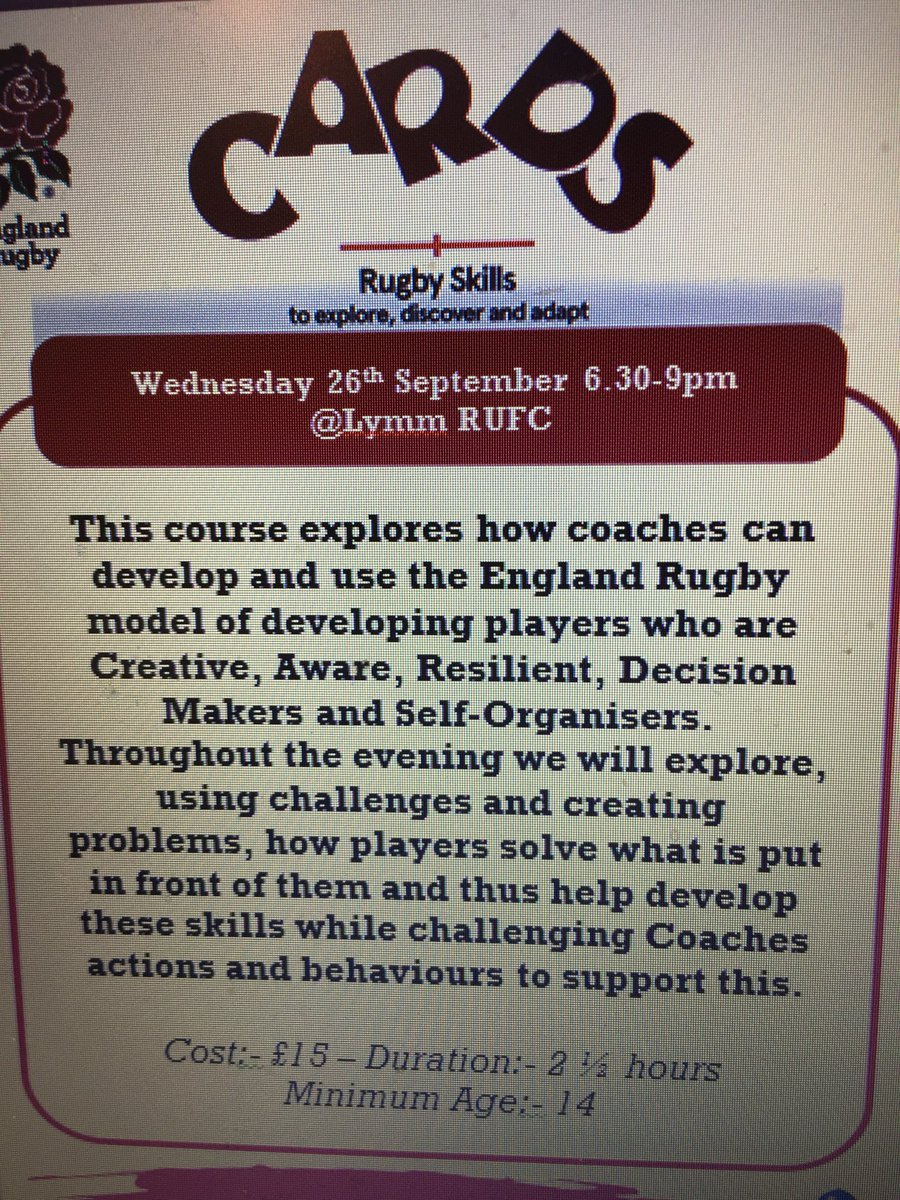 test Twitter Media - Here are the details of our next CARDS CPD at @LymmRugbyClub on Wednesday. https://t.co/kBqdkAczAR