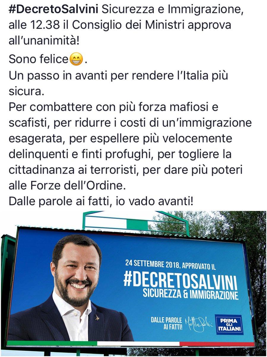 🔴 #DecretoSalvini Sicurezza e Immigrazione, alle 12.38 il Consiglio dei Ministri approva all'unanimità! Sono felice😁. Un passo in avanti per rendere l'Italia più sicura. Dalle parole ai fatti, io vado avanti!