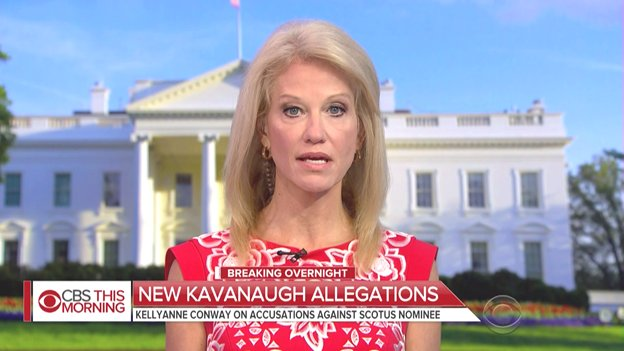 'Indeed, this is starting to feel like a vast left wing conspiracy,' says @KellyannePolls of the new allegations against SCOTUS nominee Brett Kavanaugh.  Defending Kavanaugh, she tells @CBSThisMorning 'I don't think one man's shoulders should bear decades of the #MeToo movement.'