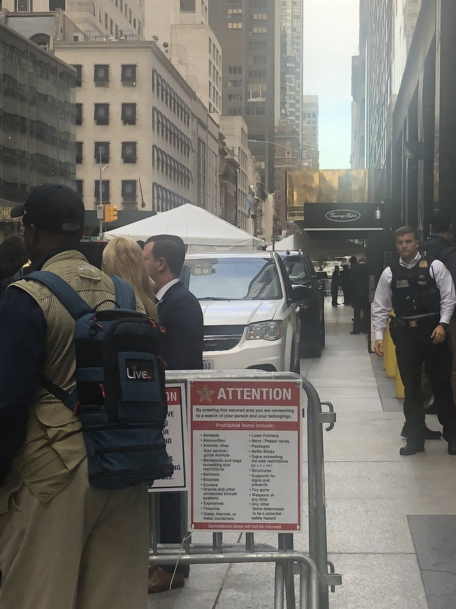 White House press pool security sweeps outside Trump Tower ahead of #unga. #TicTocNews
