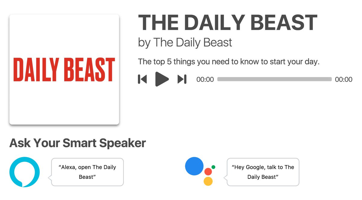 'Hey Google, talk to The Daily Beast!' Get the news you need without getting out of bed. Listen to The Daily Beast's new podcast: https://t.co/vXSjNqhy1j