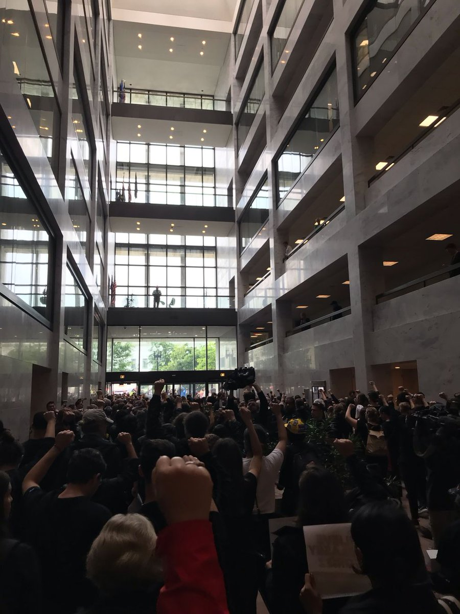 The masses are walking out of the Senate Hart atrium right now. We stand with Dr. Christine Blasey Ford, Deborah Ramirez, and all survivors!   The Senate must reject Brett Kavanaugh's nomination and #BelieveSurvivors.