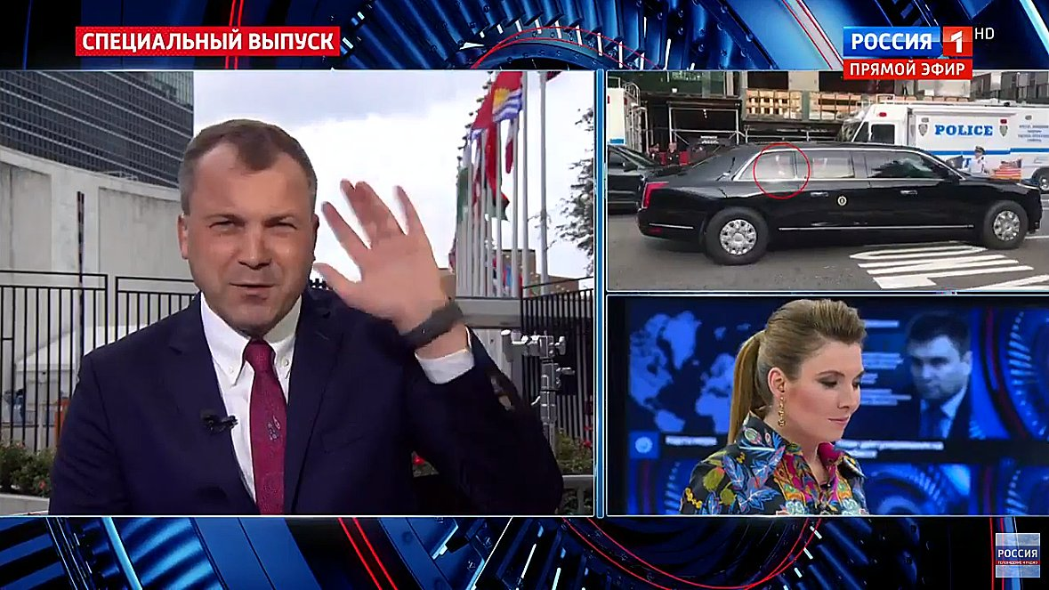 Russian Evgeny Popov boasts that Trump waved to the Russian film crew, both on his way in and out of the UN bldg