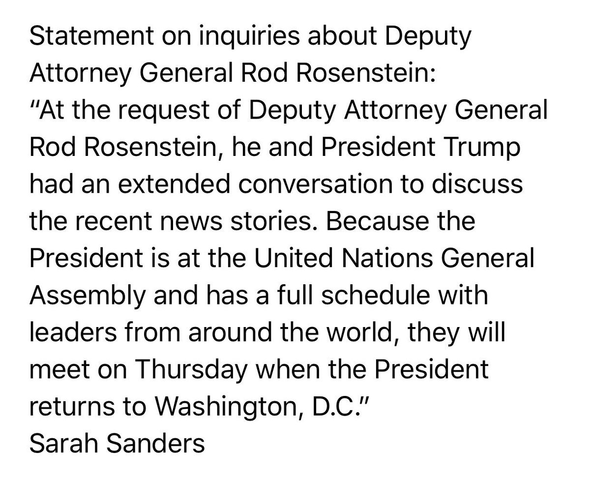 "NEW: Trump to meet with Rosenstein Thursday after extended conversation today ""to discuss recent news stories."""