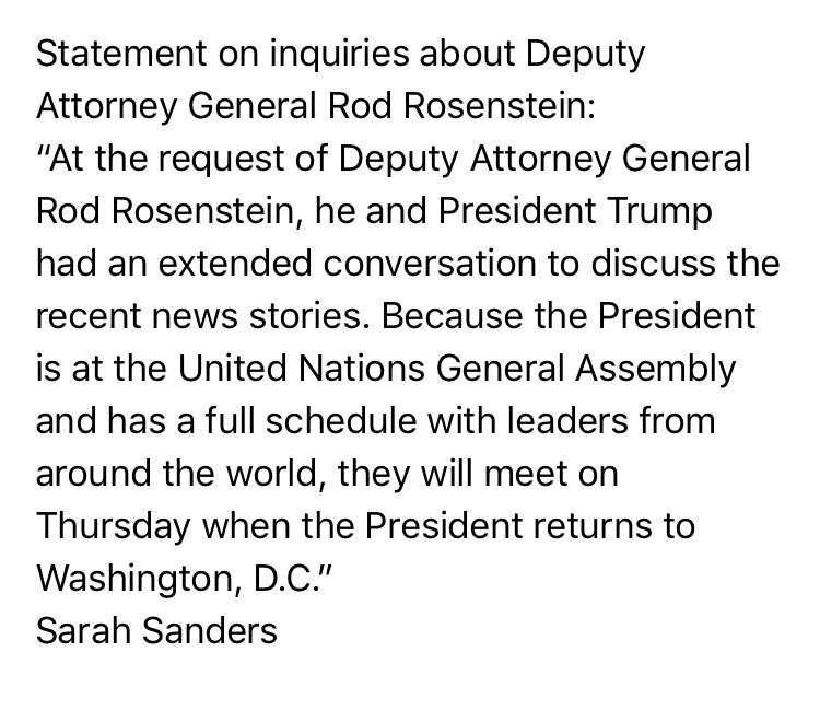 Sanders: Rosenstein still on job and will meet with Trump later this week (a source told me earlier that Rosenstein was there for previously scheduled meeting)