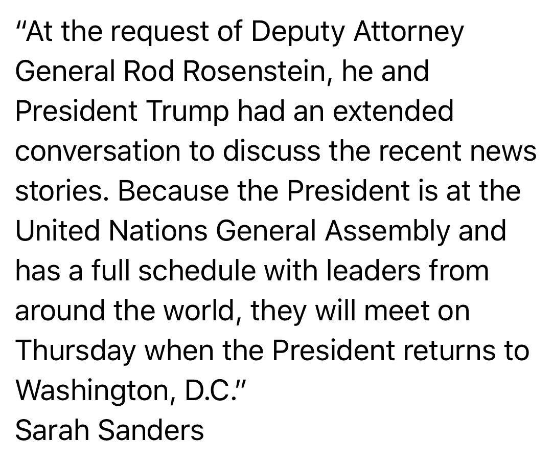 Statement on Deputy Attorney General Rod Rosenstein: https://t.co/yBgAydv9oR