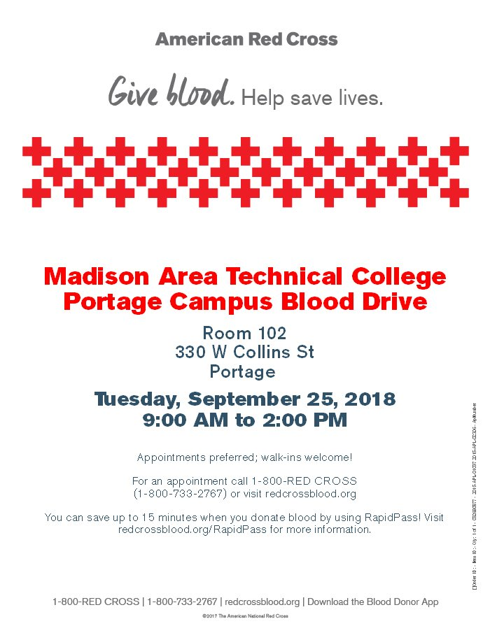 Jody Weyers  MadisonCollege Portage Campus! Blood drive on Tues, Sept 25  9am-2pm. Still time to sign up  http   www.redcrossblood.org or walk-ins ... 4b996dd882a