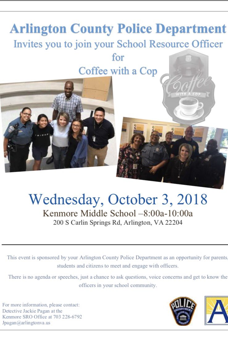 Join <a target='_blank' href='http://twitter.com/ArlingtonVaPD'>@ArlingtonVaPD</a>  on October 3 for Coffee with a Cop.  8-10 am.  Bring questions, concerns and conversation! <a target='_blank' href='https://t.co/htVsQaq6qz'>https://t.co/htVsQaq6qz</a>