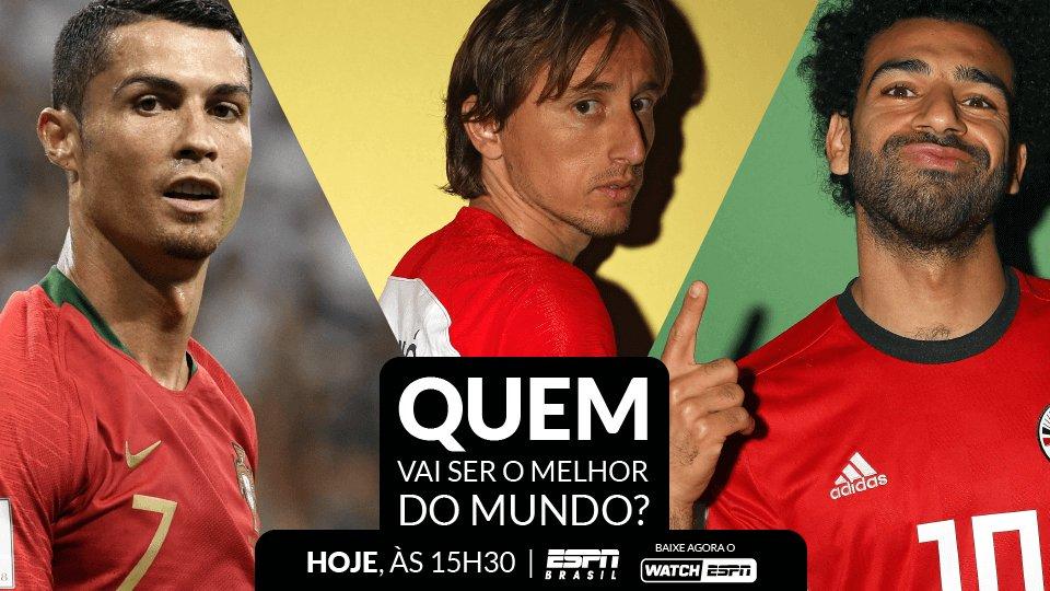 Hoje tem a premiação da FIFA de Melhor Jogador do Mundo, AO VIVO na ESPN Brasil e WatchESPN, às 15h30. 🏆⚽  Quem vai levar essa?  #TudoPeloFutebol