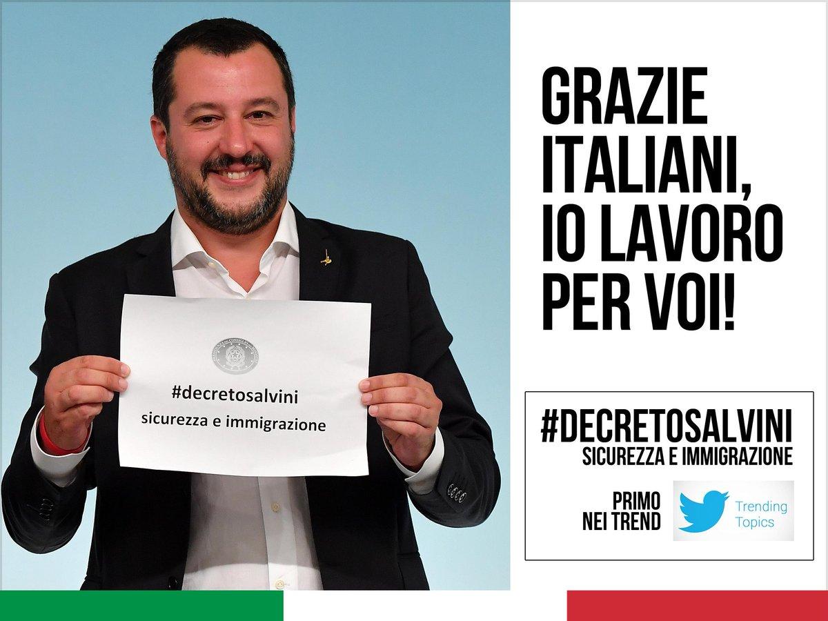 #DecretoSalvini PRIMO in Italia su Twitter, decine di migliaia di 'Mi piace' e commenti di sostegno su Facebook e su Instagram, migliaia di messaggi di congratulazioni (e non solo sui social). GRAZIE ITALIANI, io lavoro per voi.