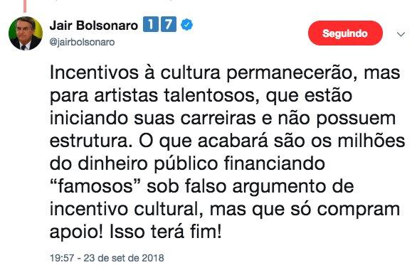Resultado de imagem para twitter bolsonaro lei rouanet artistas