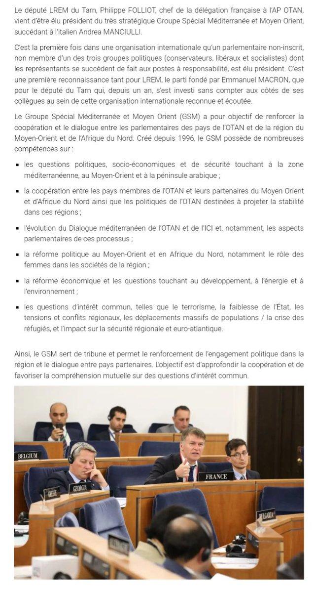 Élu ce jour à #Lisbonne Président du groupe spécial #Mediterranée et #MoyenOrient de l\