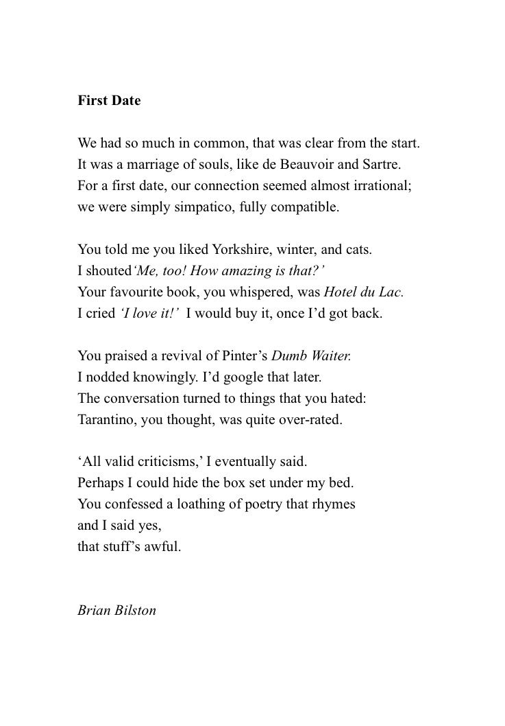 Brian Bilston On Twitter Heres A New Poem About Going On A First