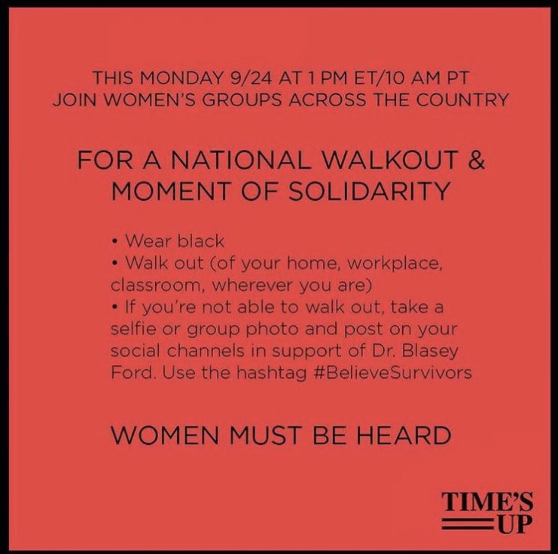 Remember: National #BelieveSurviviors Solidarity Walkout at 1pm ET today. Wear black, post on social if you can. https://t.co/2c8bGwVx4G
