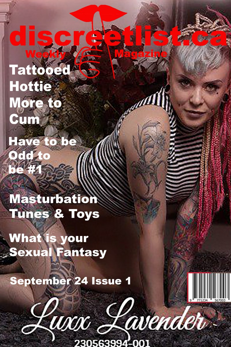 Once a week we are doing another promo for posting. We started today with our first Magazine cover. On the cover for the first on is @luxxlavender from @EliteRetreatEd in #Edmonton.  http:// discreetlist.ca  &nbsp;    #weworkhardforyou #bodyrub #magazine #Tattooed<br>http://pic.twitter.com/lZz0pyJLlJ