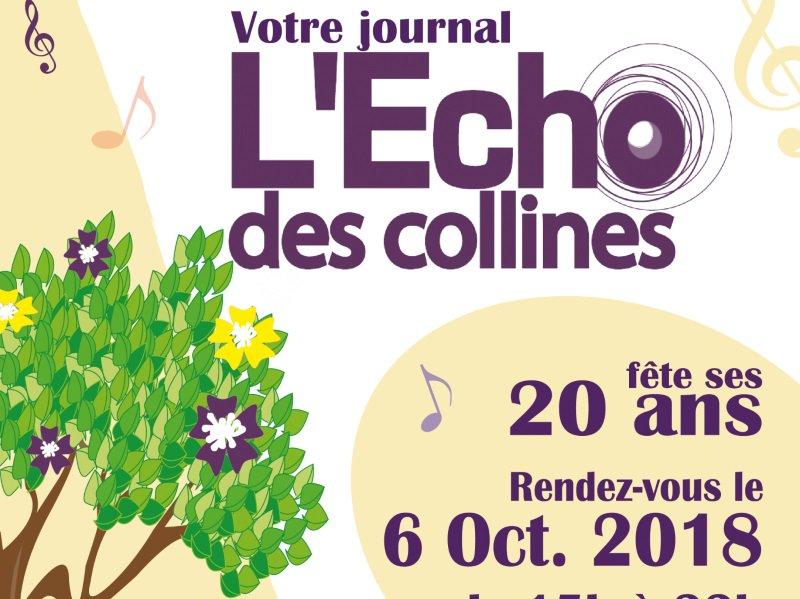 Le journal associatif @EchoDesCollines fête ses 20 ans ! Le 6 octobre prochain, il organise un après-midi festif et de reflexion sur l'avenir des #medias associatifs à partager avec le #public. https://t.co/ZaWxwXhetG