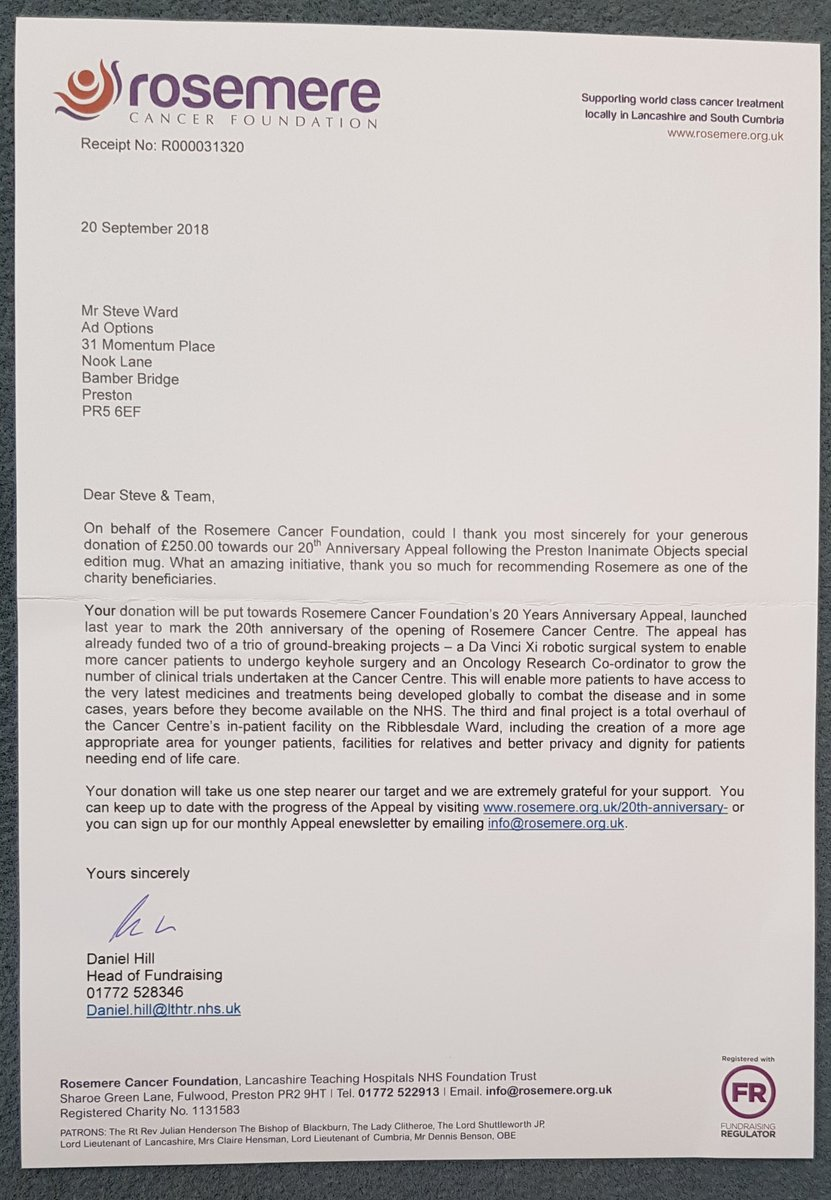 Lovely letter from @RosemereCF thanking us for the #prestoninanimateobjects charity mugs funds. Thanks to all who helped us and to everyone who bought one. #fundraising <br>http://pic.twitter.com/AH4aTyBSNv &ndash; à Cuerden Valley Park Trust