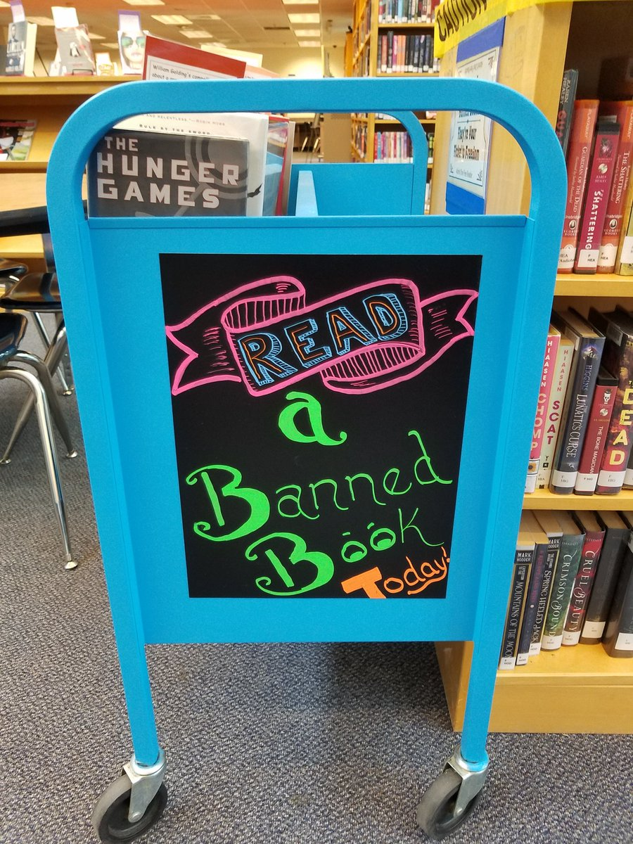 Stop by the media center and check out a banned book!! #BannedBooksWeek #SLM18