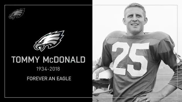 The Eagles are saddened to learn of the passing of Hall of Fame wide receiver Tommy McDonald.