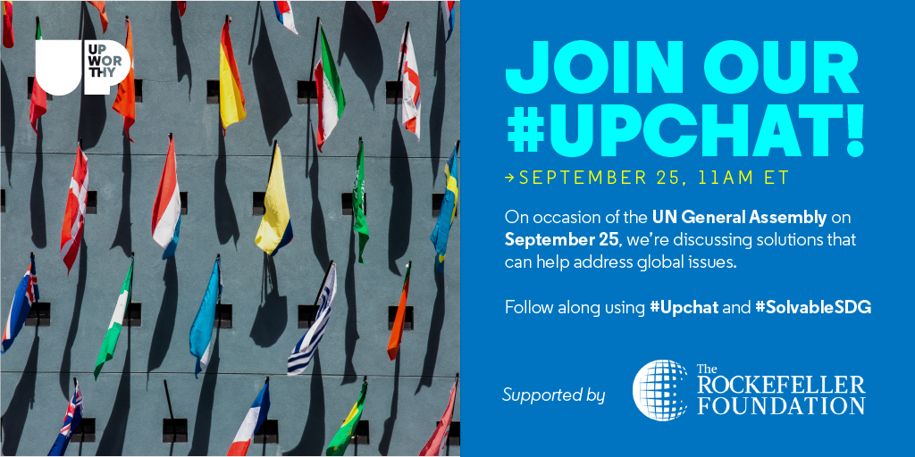 Join us tomorrow, Sep 25th at 11AM ET for our live #UpChat with @RockefellerFdn. We&#39;ll be discussing how to improve our planet and the UN&#39;s Sustainable Development Goals (SDGs). We&#39;d love to hear your thoughts! #SolvableSDG<br>http://pic.twitter.com/apM3NDYSKH