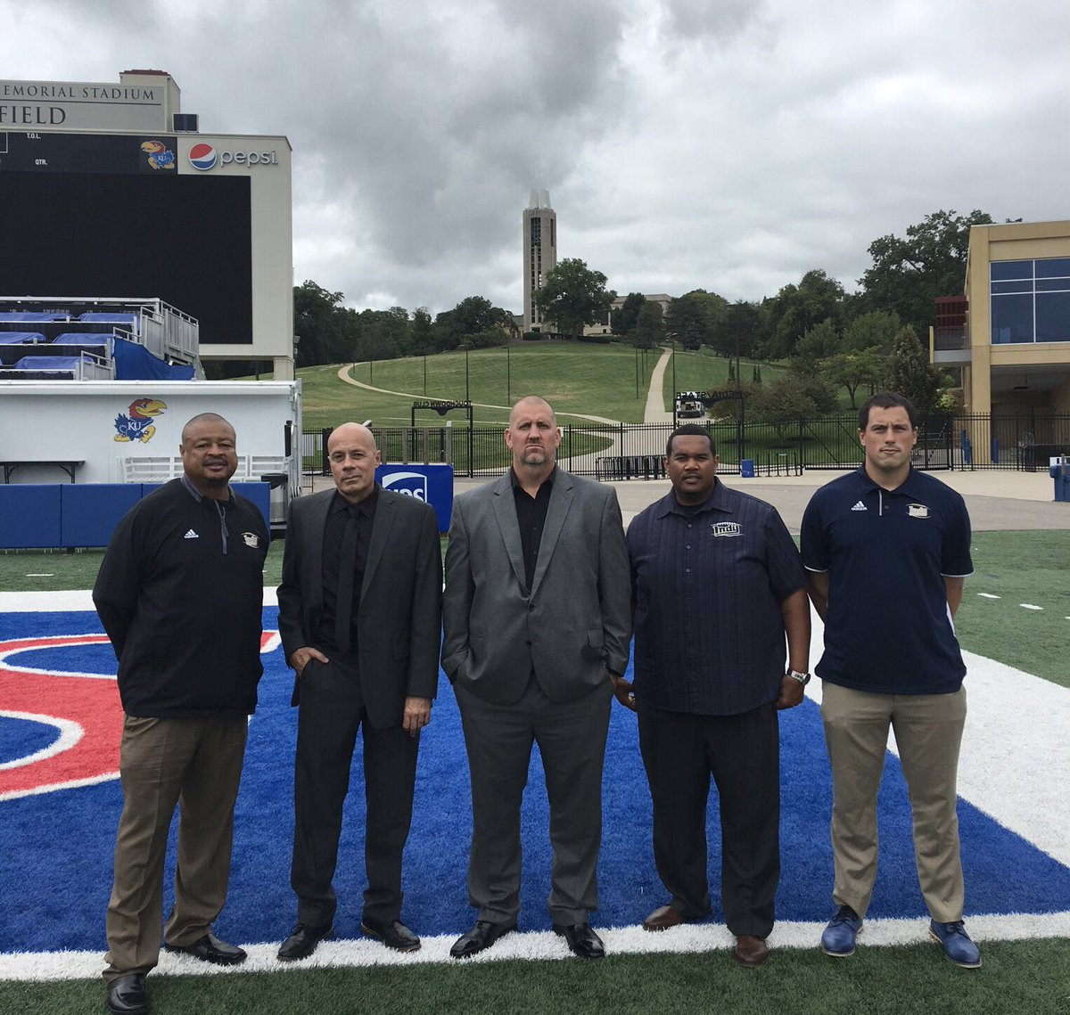 Great visit to KU today with some of the @DreamU_IndyFB coaching staff. @INDYHEADCOACH1 @LastChanceU @CoachMSmith1 @WeezyBurnett33 @CoachDonerson<br>http://pic.twitter.com/JNK5dv7Rou