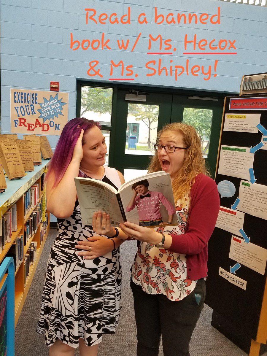 Teachers checking out the Banned Books! You should too!! #Caughtreadingabannedbook #SLM18 #BannedBooksWeek
