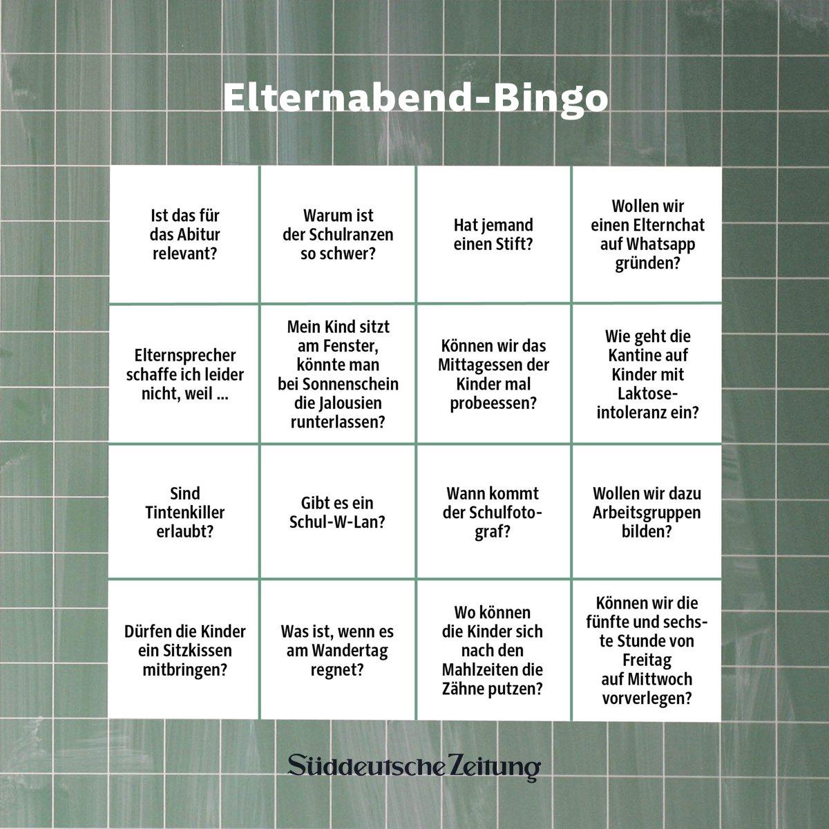 Beim Elternabend sagen die immer gleichen Leute die immer gleichen Sätze. Man kann auf die Phrasen warten und sie durchstreichen, wie beim Bingo-Spiel. #Elternabendbingo https://t.co/DqEJWutLzM