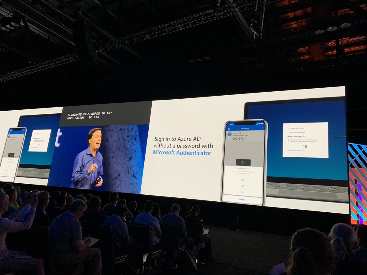 As @Microsoft points out, you can eliminate 99.9% of security threats by eliminating passwords, so the move to extend their Authenticator app with dual factor and biometric support to #Azure is a big step towards secure digital identities. #MSIgnite<br>http://pic.twitter.com/m3BwqO944U