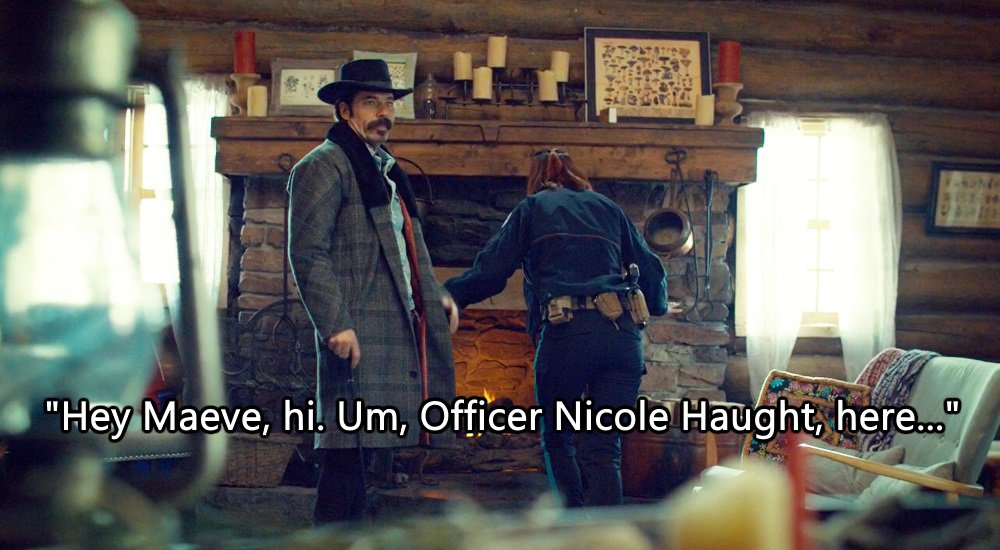 S1 Nicole Haught: like, things are *weird* around here, don&#39;t you think? S3 Nicole Haught: Imma just calmly intro myself to a fireplace cuz a disembodied teen witch is in it &amp; I think I can get her to give us the journal on how to defeat  Bushar #WynonnaEarp <br>http://pic.twitter.com/yavn85s3pW