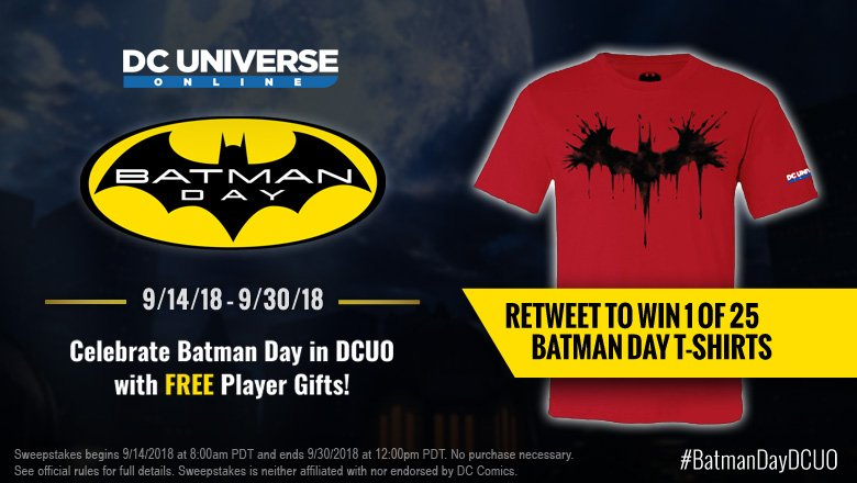 It&#39;s not too late to RETWEET TO WIN your very own Painted #BatmanDay t-shirt IRL. Just smash that RT button and you&#39;re automatically entered. #BatmanDayDCUO #sweeps  Rules:  http:// ow.ly/bL9D30lOuKW  &nbsp;  <br>http://pic.twitter.com/OtMCIayVOh