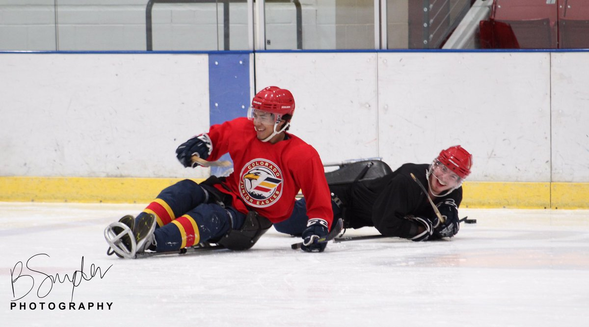 Pre-season team bonding and learning about the Paralympic sport of Sled Hockey thanks to the @warrioravs sled hockey team.   Bre Snyder   #northerncoloradoeagles #nogoeagles #EaglesOn85 #adaptivesports #sledhockey #paralympics<br>http://pic.twitter.com/anqfafKPIt