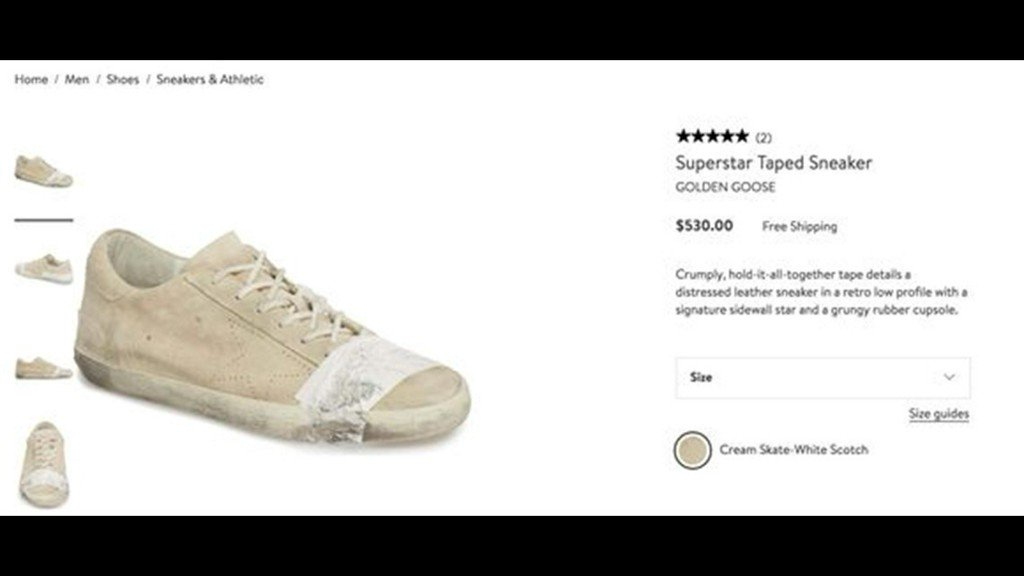 56b3ee96174 nordstrom s 530 dirty taped up sneakers sell out despite consumer outcry