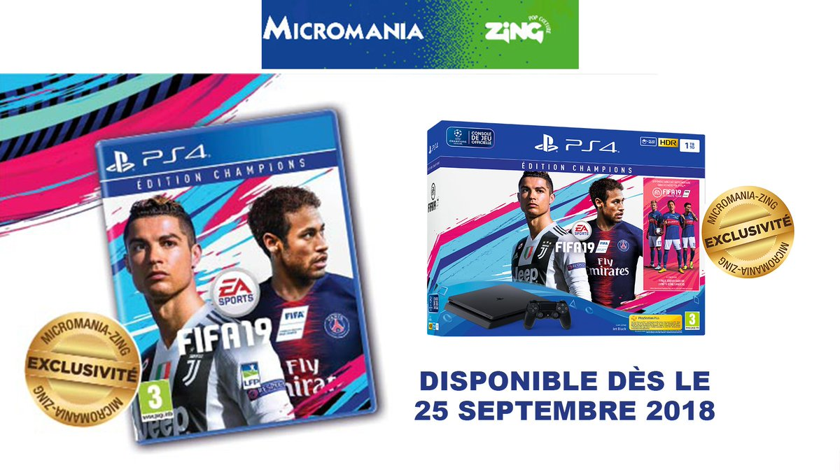 🎁 Tentez de gagner une console de jeu + #Fifa19 >  ! #TPMPJeu👏🙂 Merci  qu@Micromania_Fri sort 3 jours avant la sortie officielle le jeu Edi#Fifa19EditionsChampionstionsChampions ! Un#MicromaniaZinge exclusivité  dès le 25 Septembre. Plus d'infos sur cethttps://t.co/YEGEN1dY4ite exclu >