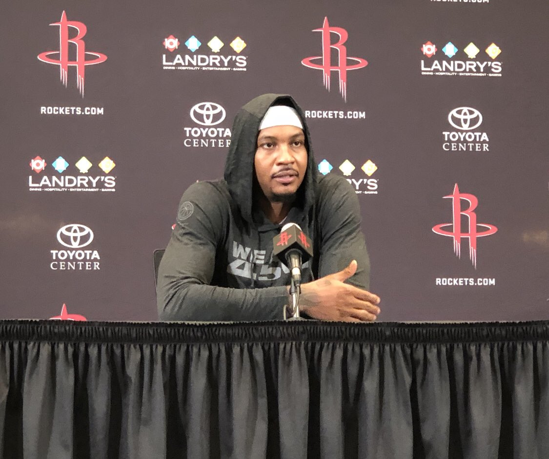 """""""I know what this team expects of me and what I expect of myself...it's basketball at the end of the day. We know what we're here for, and that's to win a championship."""" - @carmeloanthony"""