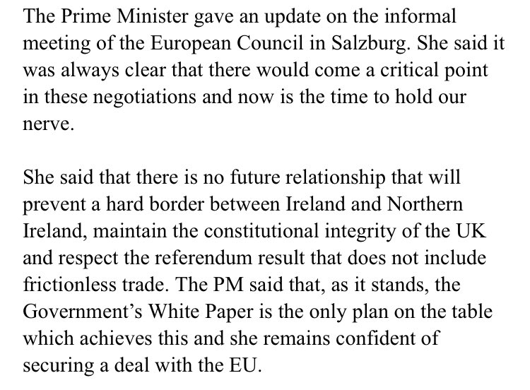 Official read-out from cabinet on Brexit has taken a while to emerge. No doubt other accounts will also be available