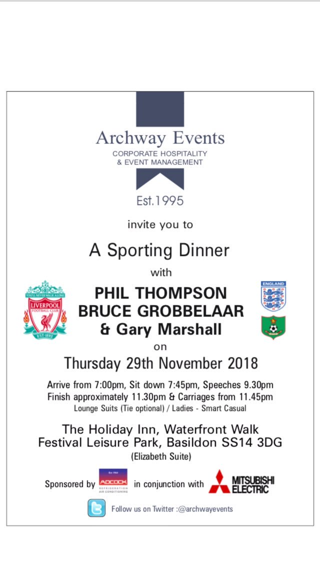 Delighted that the Essex business community have again supported me at my Basildon sporting dinner on 29/11 ... another sell out event - starring Liverpool legends @Phil_Thompson4, Bruce Grobbelaar & @ThebfgGazza - sponsored by @AdcockUK. Featuring @simplymagic19 & @JuliaHolland