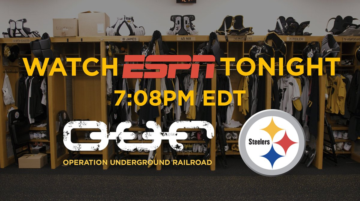 Watch @espn at 7:08PM ET tonight for a sneak peek of @ourrescue &amp; The Pittsburgh @steelers! #JoinTheFight #SlaveStealer<br>http://pic.twitter.com/xZy1rt6H1A