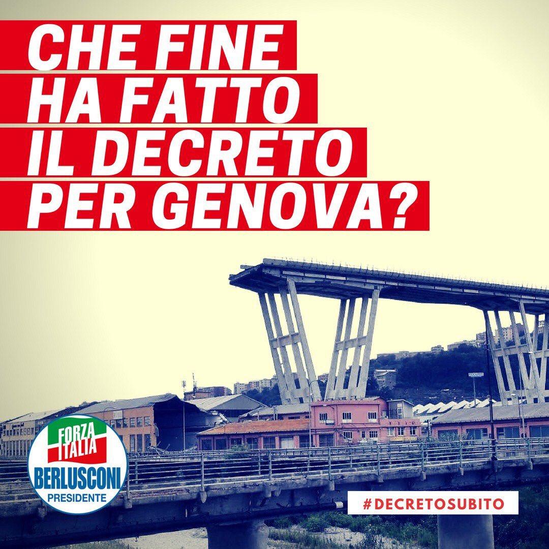 Il #Governo ha detto che il #decreto era pronto quasi due settimane fa. Sparito. #Genova #DecretoSubito #ForzaItalia  - Ukustom
