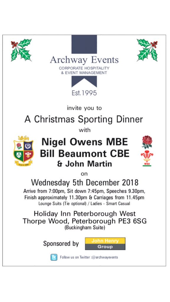 Big thank you goes out to the Peterborough business community for their continued support - another Christmas sell out sporting dinner with @Nigelrefowens, @BillBeaumont & @JohnMartinComic. Sponsored by @JHGCommunica also featuring @simplymagic19 & @JuliaHolland