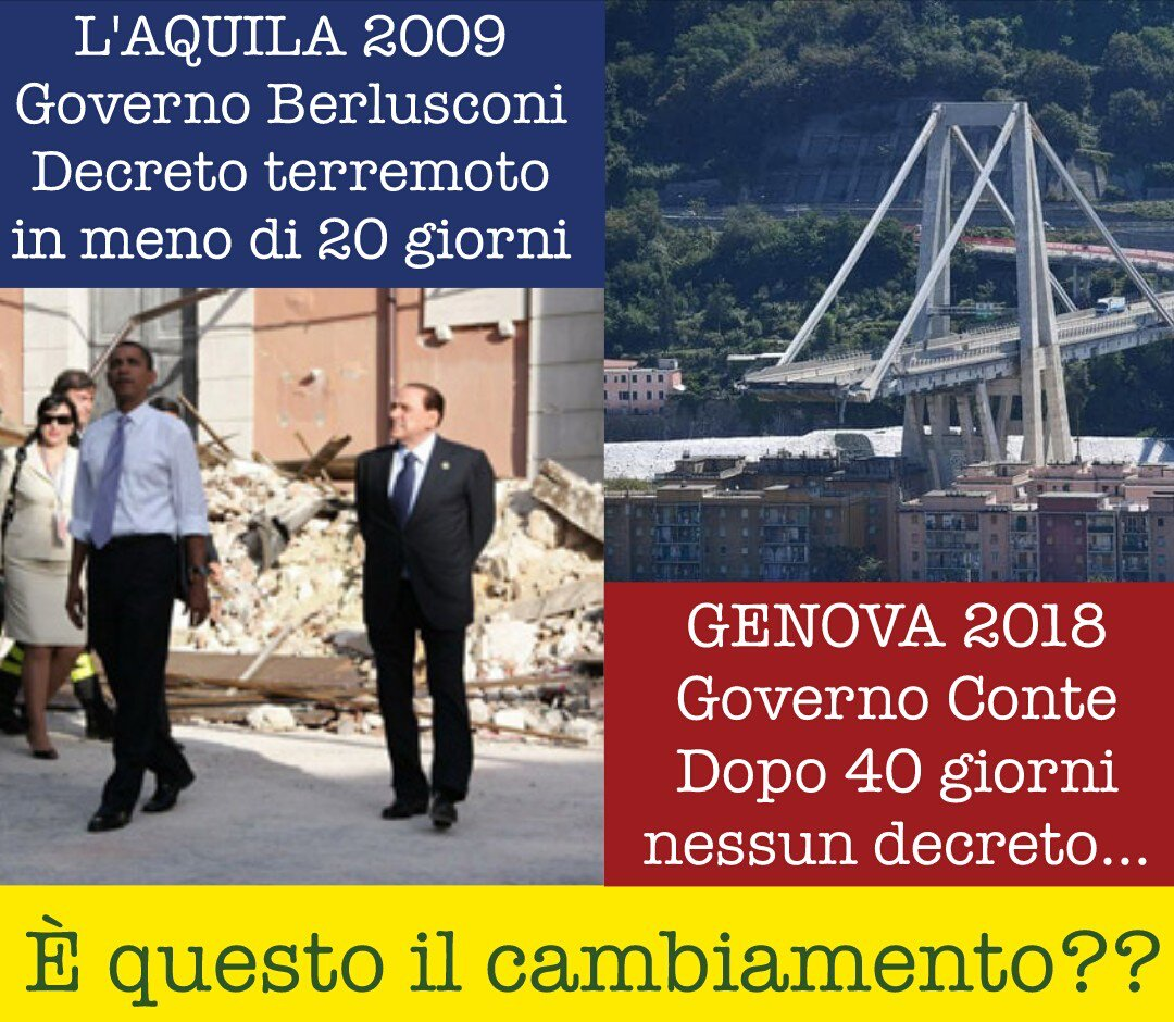 #Genova non può più aspettare! Nel 2009 il #governoBerlusconi in meno di 20 giorni dal terremoto aveva già emanato il decreto L\