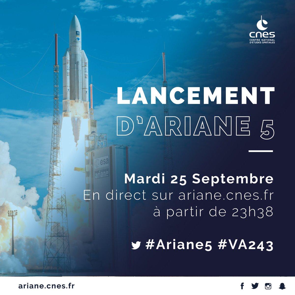 Demain soir, nous serons en direct à partir de 23h38 pour voir la 100e #Ariane5 décoller 💯🚀 #VA243 Rejoignez-nous sur https://t.co/1RGTJ6hjbi ✨