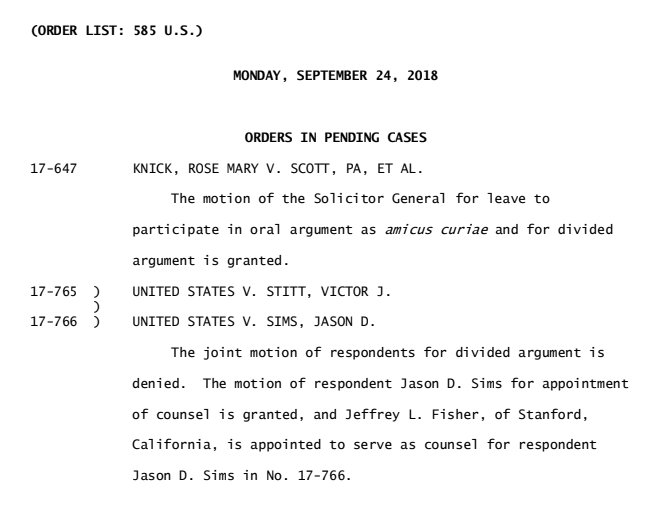 A brief set of argument-related orders from #SCOTUS today.